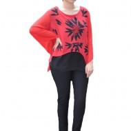 Bluza Adriena de ocazie ,model floral,nuanta rosu-alb