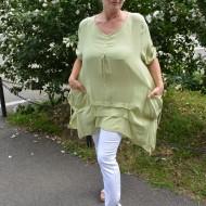Bluza casual ,asimetrica, cu design de buzunare nuanta de verde
