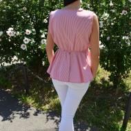 Bluza casual, cu dungi fine rosu-alb