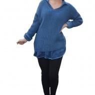 Bluza casual Ioana din tricot cu guler,nuanat de bleumarin