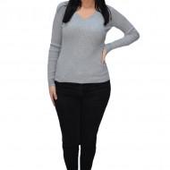 Bluza casual Kimmy,model simplu si decolteu in V ,nuanta de gri