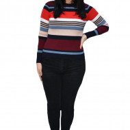 Bluza casual Vera ,model cu dungi multicolore,marsala