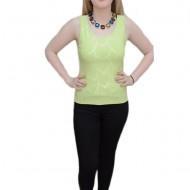 Bluza clasica cu bretele late, verde deschis cu strasuri mici