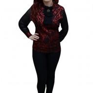 Bluza clasica, de culoare negru-rosu, cu dantela aplicata