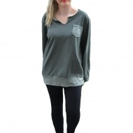 Bluza comoda din bumbac, verde inchis, cu insertii de paiete