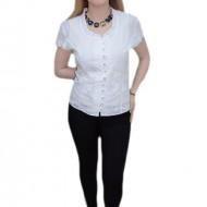 Bluza cu decolteu rotund, nuanta de alb, maneca scurta