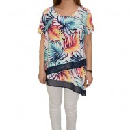Bluza dama, casual,asimetrica, model lejer, multicolor exotic