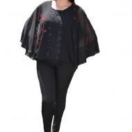 Bluza dama eleganta ,model cu flori din strasuri,nuanta de NEGRU