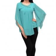 Bluza de gala cu design aparte, cu voal asimetric, nuanta turcoaz
