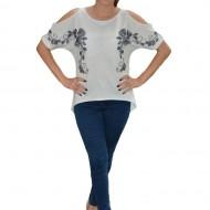 Bluza de primavara-vara cu design deosebit in fata, nuanta alba