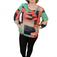 Bluza de primavara-vara cu design multicolor si insertie plisata
