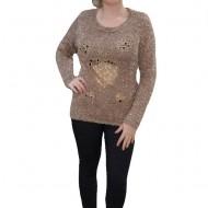 Bluza deosebita de toamna-iarna din material tricotat, nuanta bej