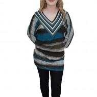 Bluza deosebita, nuanta de gri, imprimeu dungat fin