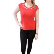 Bluza, din material elastic, de culoare rosie, si insertii argintii