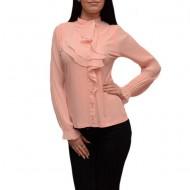Bluza eleganta, de ocazie, nuanta piersica, model de volane chic