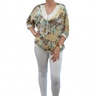 Bluza eleganta din voal cu imprimeu de buline multicolore