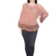 Bluza Elena din tricot cu insertii de dantela,nuanta de maro