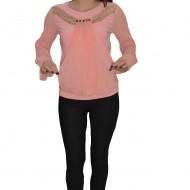 Bluza fashion de ocazie cu pliseuri rafinate, in nuanta de pudra
