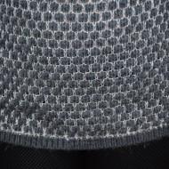 Bluza gri, de iarna, din material cu aspect pufos, design clasic