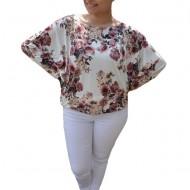 Bluza lejera Emilia cu imprimeu floral mini-rose pe fond alb