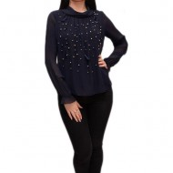 Bluza moderna cu aspect tineresc, de ocazie, nuanta bleumarin