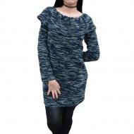 Bluza moderna cu design de dungi colorate pe fond bleumarin