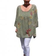 Bluza moderna de vara , cu imprimeu floral, nuanta de verde