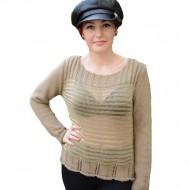 Bluza rafinata cu maneca lunga, maro deschis, model transparent