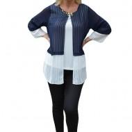 Bluza rafinata, eleganta, bleumarin-alb, cu maneca trei-sferturi