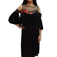 Bluza tinereasca, moderna cu talie scurta, din catifea neagra