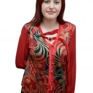 Bluza tip camasa, de culoare rosie cu imprimeu, masura mare