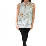 Bluza vaporoasa de vara cu design multicolor, fara maneca