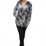 Bluze cu maneca lunga, material usor elastic, nuante de bleumarin