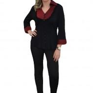 Bluze cu maneca trei-sferturi, negre-visinii, rafinate