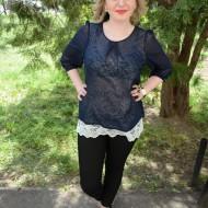 Bluze de ocazie, culoare bleumarin-alb