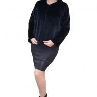 Bolero Elisa din blana sintetica, model pana in talie cu maneca lunga,nuanta negru
