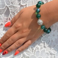 Bratara deosebita cu textura elastica,culoare greenery