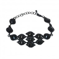 Bratara eleganta, aurie, lungime fixa decorata cu cristale lucioase,negru