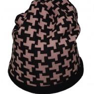 Caciula rafinata, culoare negru-pudra, realizata din material textil