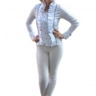 Camasa casual din material usor elastic, lucios, cu maneca lunga