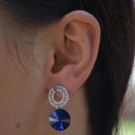 Cercei fashion din piatra semipretioasa si cristale argintii, nuante de somon si albastru
