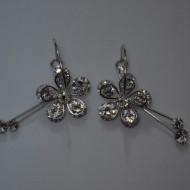 Cercei moderni, cu motiv floral, lungi, in nuanta de auriu, argintiu