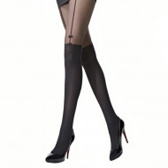 Ciorap pantalon microfibra, model in partea de sus, negru 60 den
