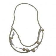 Colier model deosebit,realizat din perle mici si cateva mai mari,nuanta de alb,galben,roz