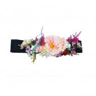 Curea elastica neagra cu flori roz