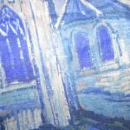 Esarfa Elma eleganta,model painted tip house,nuanta de bleumarin-alb