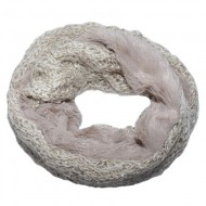 Fular Eve circular din tricot cu insertii de paiete si blanita ,nuanta de crem
