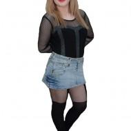 Fusta de blug, de culoare albastra, model scurt pentru tineret