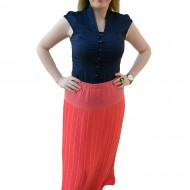 Fusta trendy de culoare corai, masura mare, cu design plisat