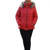 Jacheta calduroasa de toamna-iarna cu gluga detasabila,nuanta de rosu